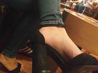 Glum cutie feet in high heels