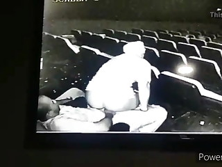 Movie theatre sex malodorous on closed camera, public sex