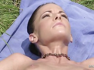 Skinny Naturism Girl Blackmail to Slaughter Anal Fuck by Stranger to hand Public Beach in Stoolie