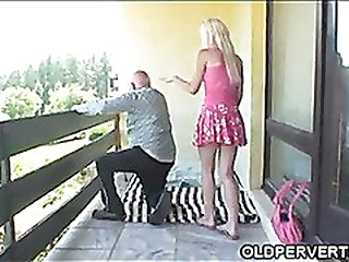 Fucking grandpa on a balcony