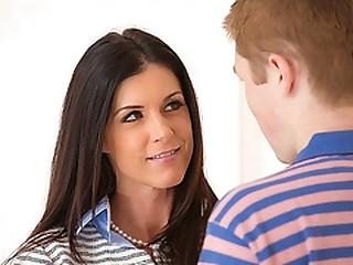 Mom Teaches girlhood boyfriend on good sex