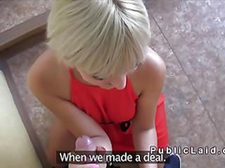 Slim blonde in red dress fucks in reintroduce