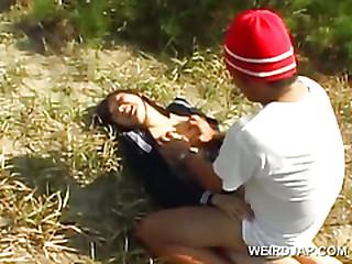 Innocent asian school girl forced into hardcore coitus alfresco